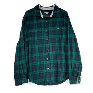 Eddie Bauer Green Tartan Plaid Flannel Shirt